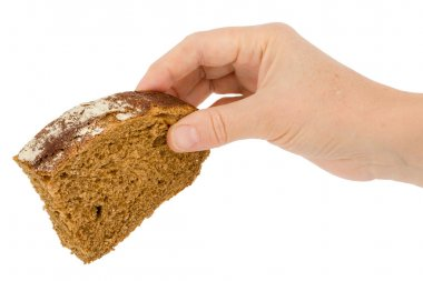 Female hand holds a slice of bread, isolated on white background