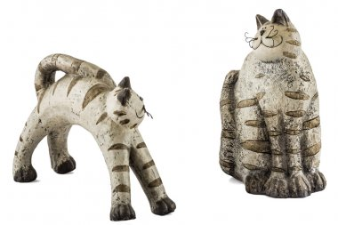 Ceramic figurine cats, isolated on white background