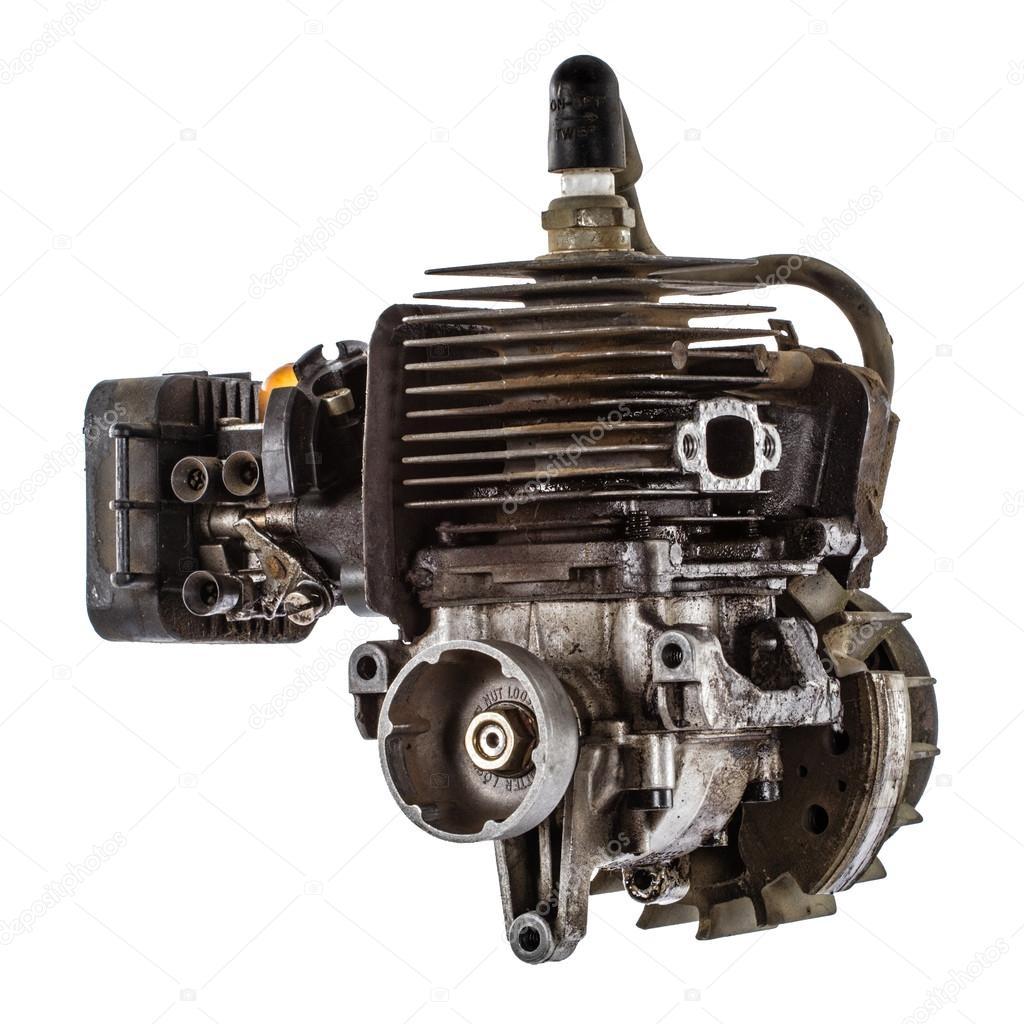 古いガソリン エンジンは、白い...
