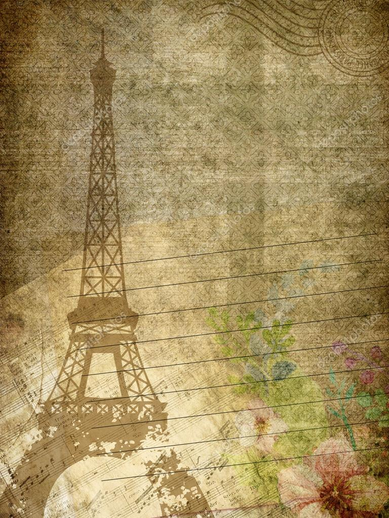 Grunge Paper Texture With Eiffel Towermusic Note And Flowers