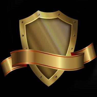 Medieval gold shield and gold ribbon.