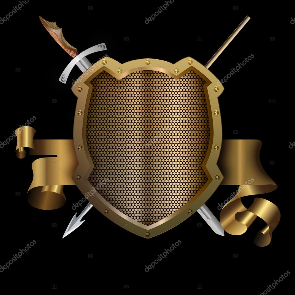 Gold ancient shield with spear and sword  — Stock Photo © ke77kz