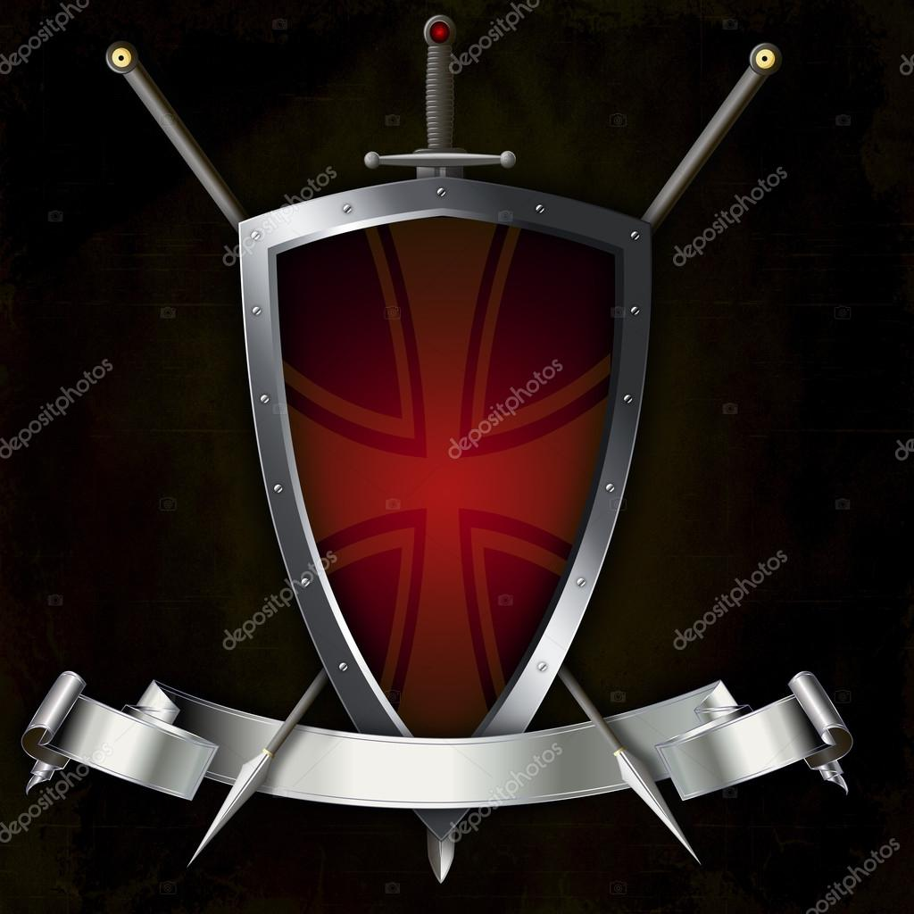Shield with sword and two spears  — Stock Photo © ke77kz #75724327