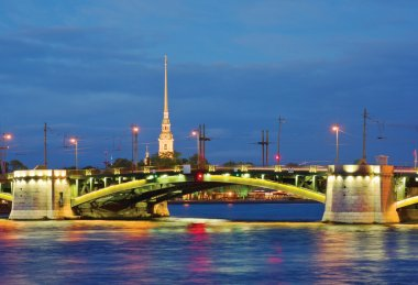 Birzhevoy Bridge, Peter and Paul Cathedral. St.-Petersburg, Russ
