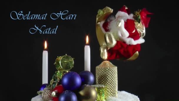 Santa claus spinning körül a Holdon