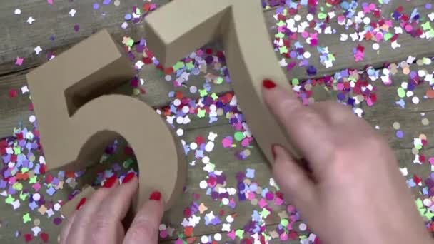 Womans Hands Are Creating A Birthday Card Stock Video Joophoek