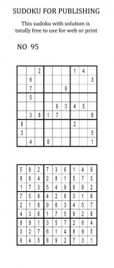 Sudoku with solution. Free to use on your website or in print.