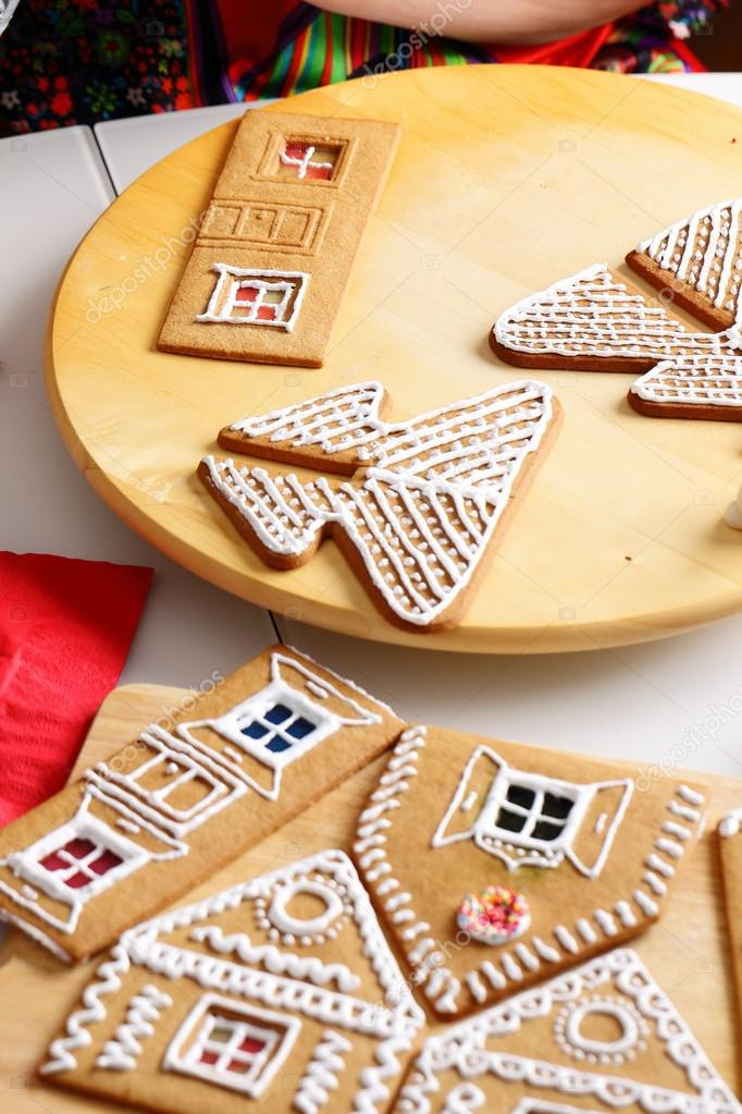 Making of gingerbread house — Stock Photo © bozhdb #89560396