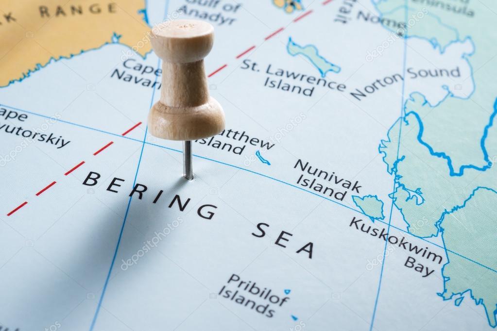 Mare di Bering sulla mappa — Foto Stock