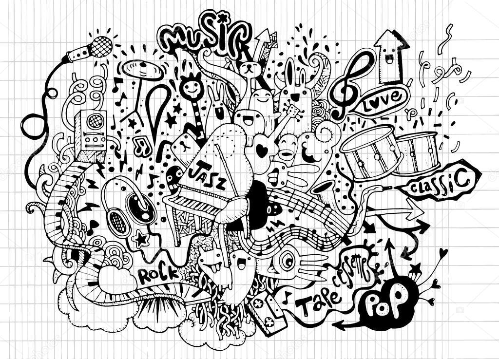 Line Drawing Music : Fondo de música mano dibujo doodle ilustración vectorial