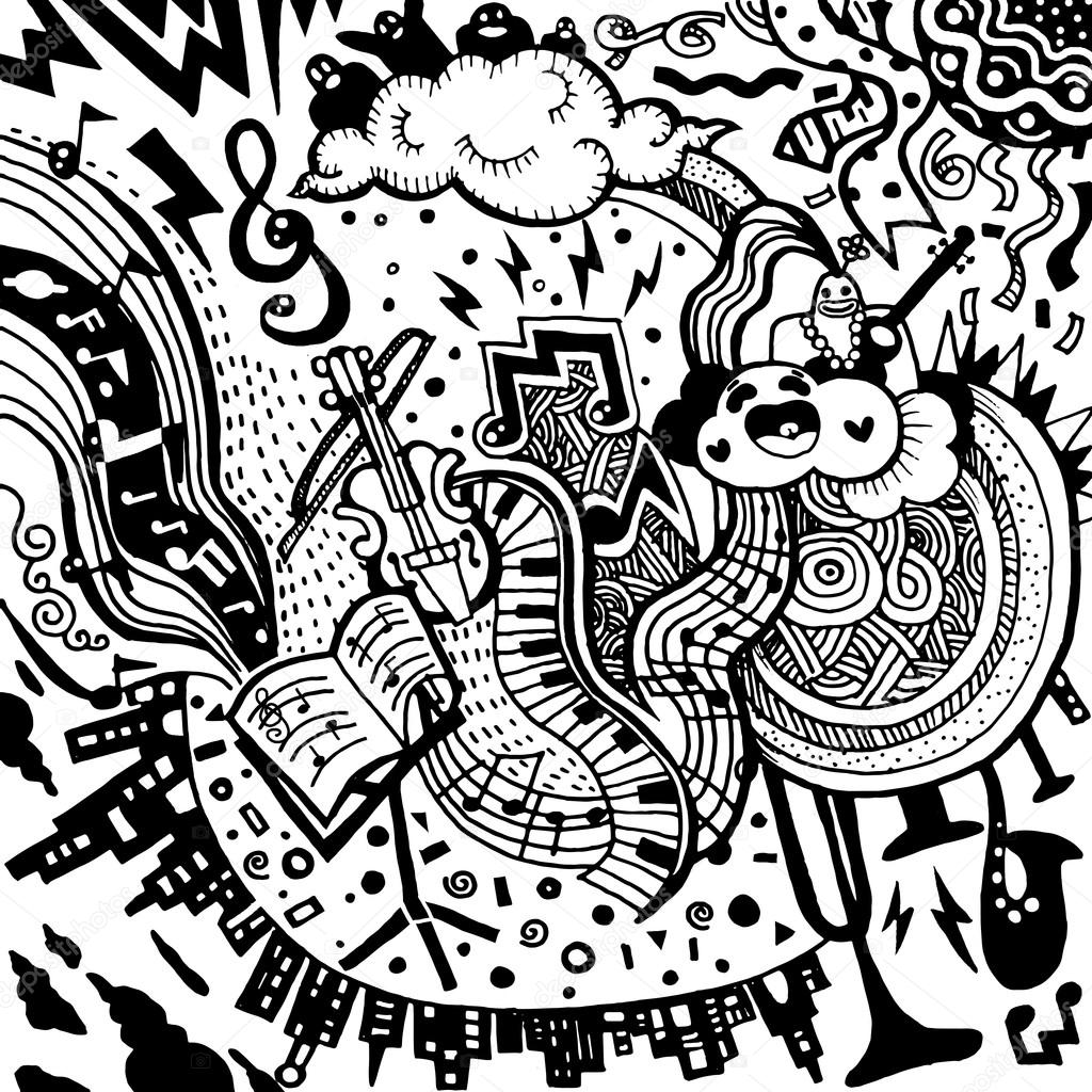 Dessin De Music musique de fond. main, dessin doodle, illustration vectorielle