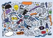 Fotografie obchodní myšlenkou čmáranice ikony nastavit. vektorové ilustrace