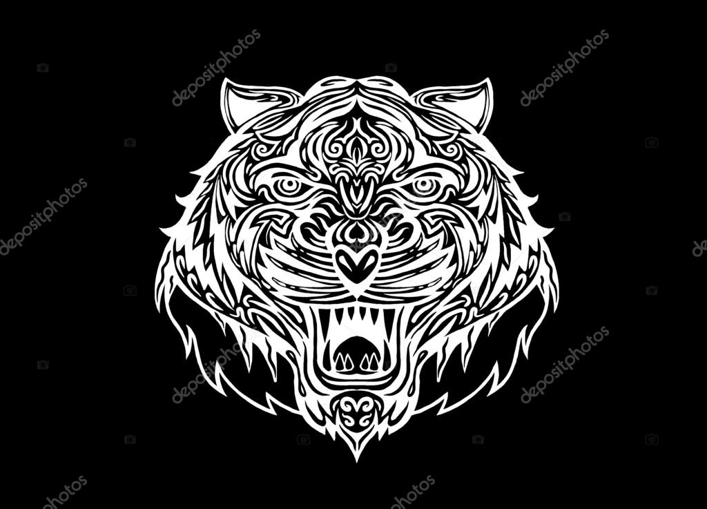 9efab9af73fe9 Hand drawn Tiger head Tattoo.psychedelic tiger isolated — Stock Vector