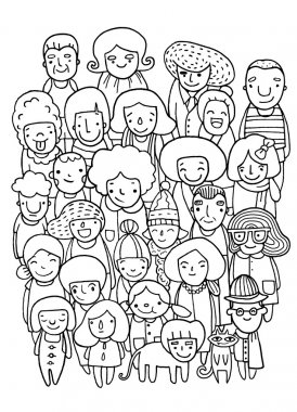 Hand drawings ,Group of people, sketch for your design. Vector illustration stock vector