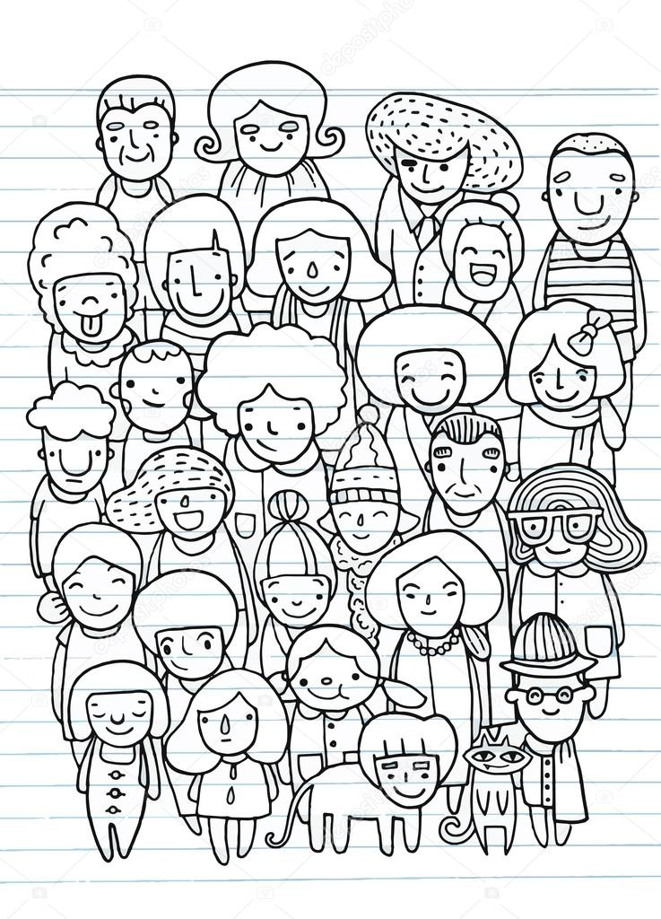 Disegni Persone Da Colorare.Hand Drawings Group Of People Sketch For Your Design Stock