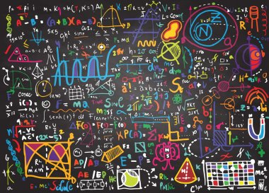 Physical formulas and phenomenons on school board. hand-drawn il