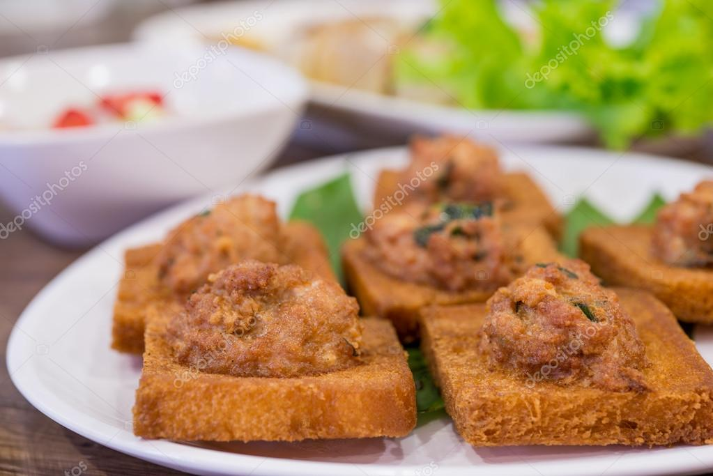 Minced pork toast, Chinese snacks High resolution — Stock