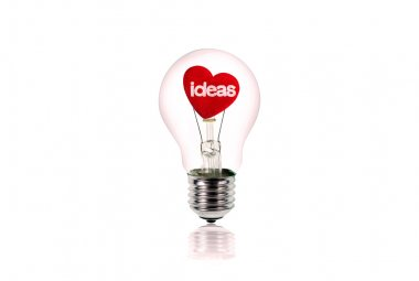The Red Heart inside of the light bulb isolated on white.