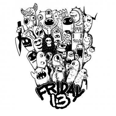 Hand drawn Friday 13 grunge illustration