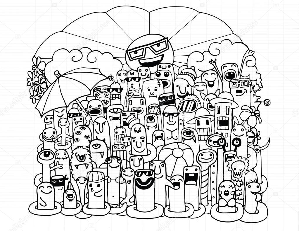 Carácter de dibujos animados Monstruo divertido en la playa — Vector ...