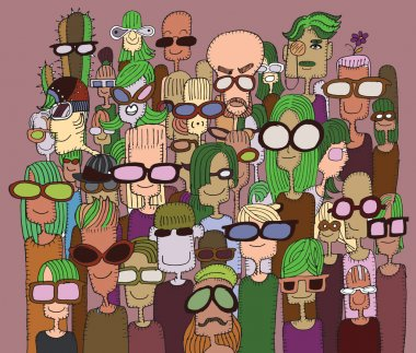 Hipster hand drawn Doodle crowd of happy people in sunglasses