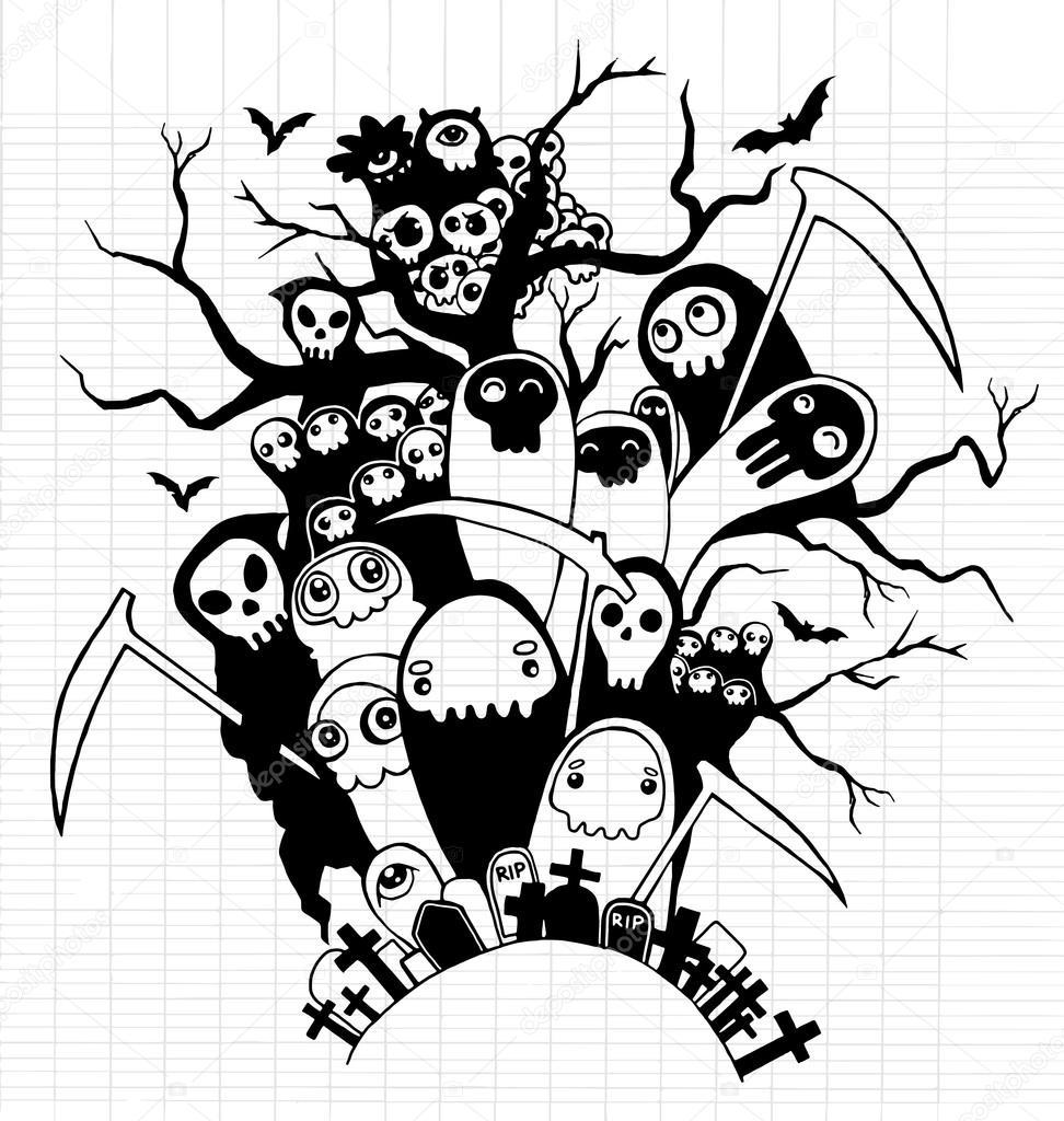 Mano dibuja lindos personajes esqueleto de la muerte para Halloween ...
