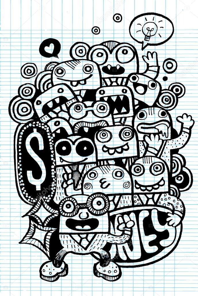 Crazy doodle argent doodle style de dessin image - Style de dessin ...