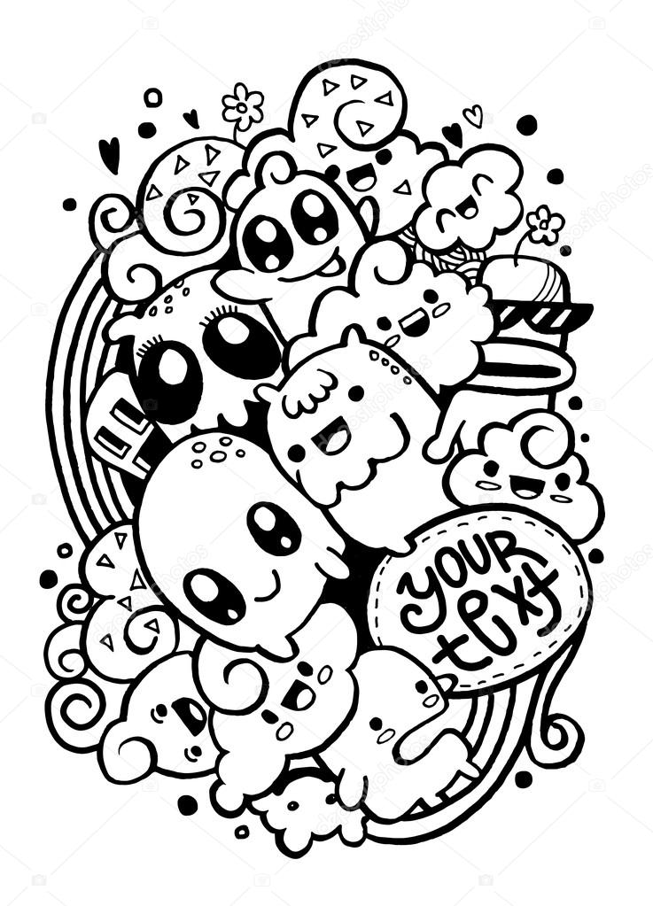 Group Of Happy Doodle Monster Drawing Style Stock