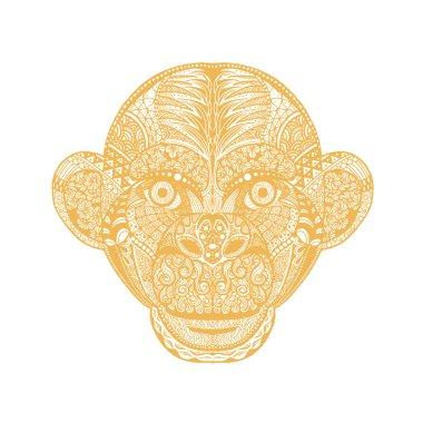 Hand drawing Monkey head avatar, Chinese zodiac sign