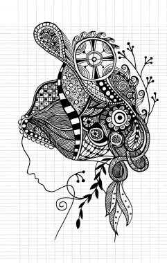 Zentangle stylized  beautiful woman's face