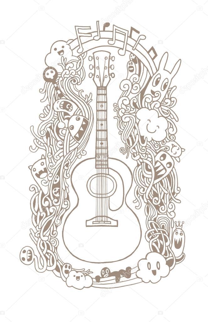 Rucni Kresba Doodle Akusticka Kytara Plochy Design Stock Vektor