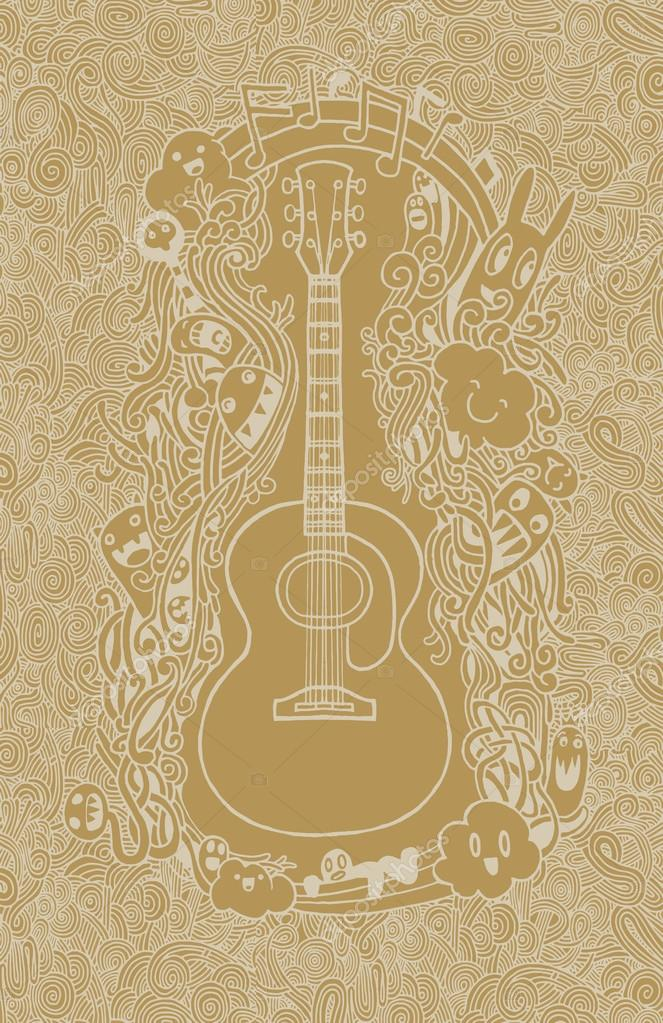 Hand Drawing Doodle Acoustic Guitar Flat Design Stock Vector