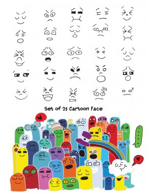 Hand drawn faces set for comics design. Vector illustration