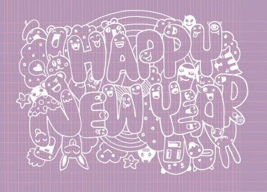 Doodle style Happy New Year sketch with cute monsters