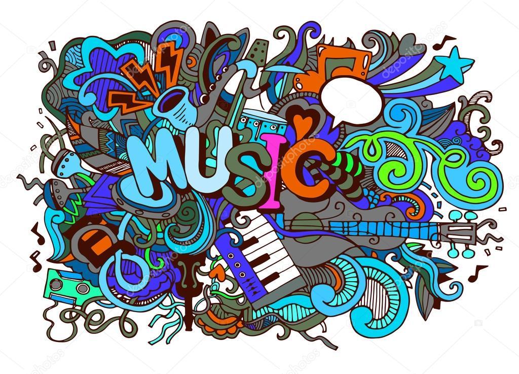 Dessin De Music musique de fond, collage avec instruments de musique. dessin de la