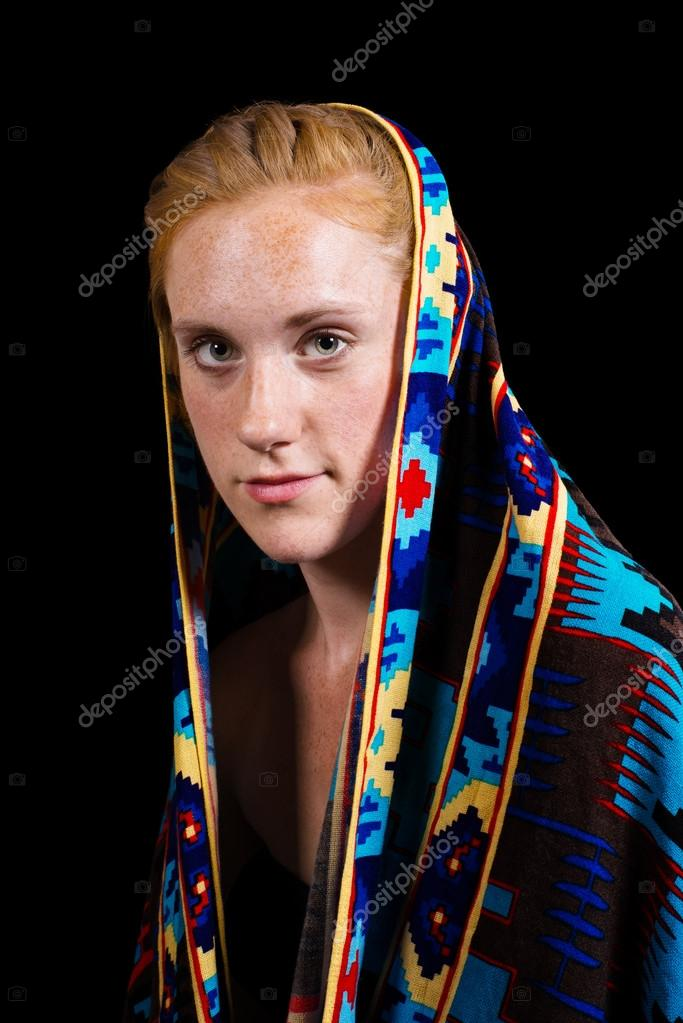 Attraktive Erdbeere Blonde Haare Blaue Augen Weiblich Stockfoto