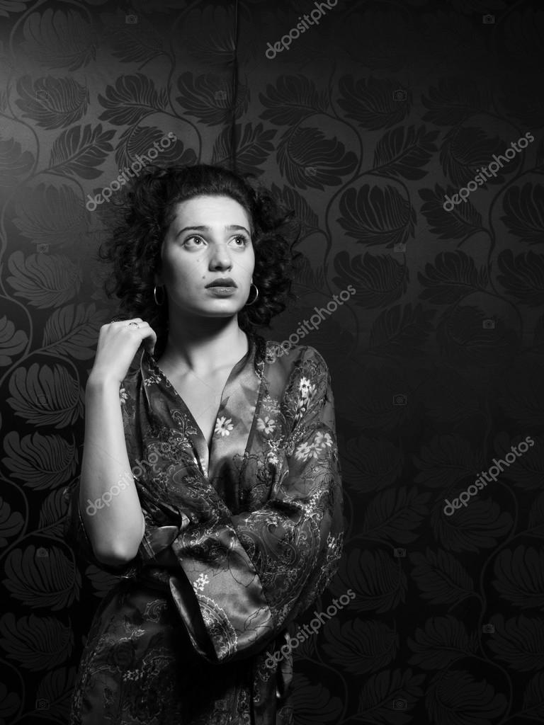 Stunning Female Wearing Floral Silk Robe