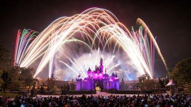 HONG KONG, CHINA - Feb 28, 2014   Fireworks show at Hong Kong Disneyland on Feb 28, 2014