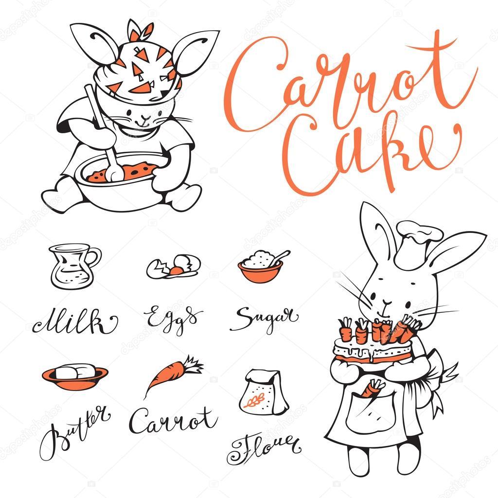 Lapins et gâteau aux carottes — Image vectorielle tiff20 ...
