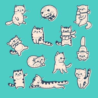 Funny cartoon kittens