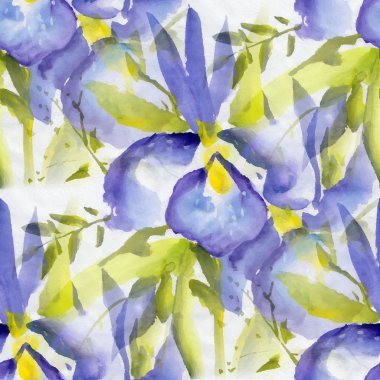 Seamless pattern with watercolor flowers
