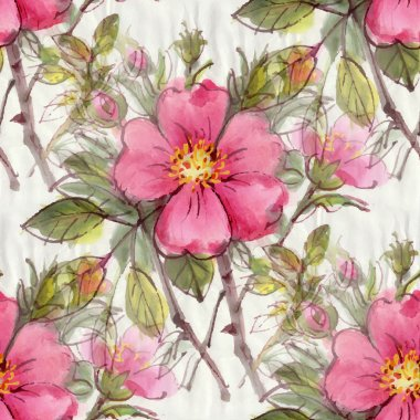 Pattern with watercolor flowers