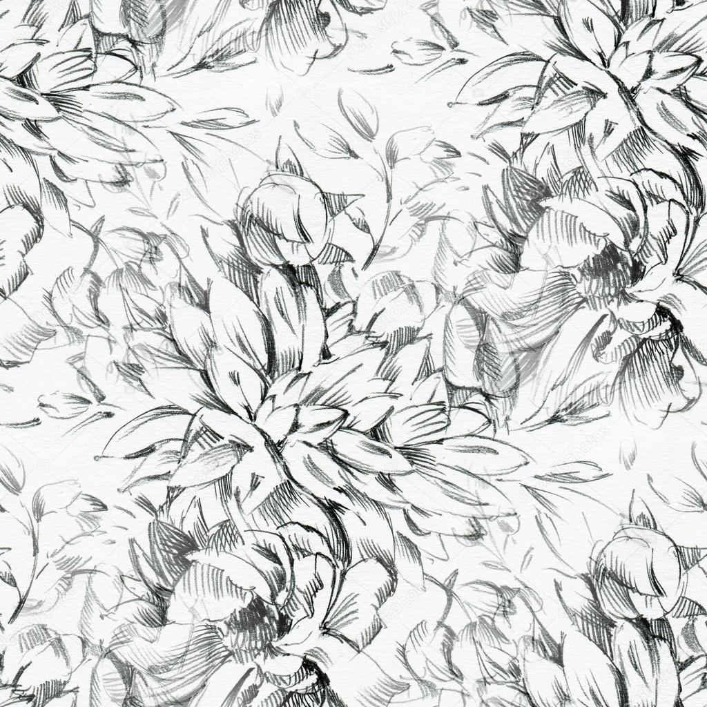 Nahtlose Muster Mit Bleistiftzeichnung Von Blumen Stockfoto