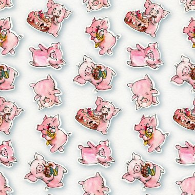Pattern with cartoon pigs