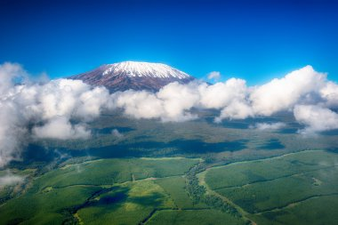 Aerial image of Mount Kilimanjaro, Africa's highest mountain, wi