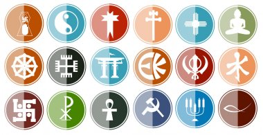 Glossy Icon Set of Religious Symbols