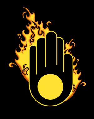 Retro Jainism Symbol with Fire