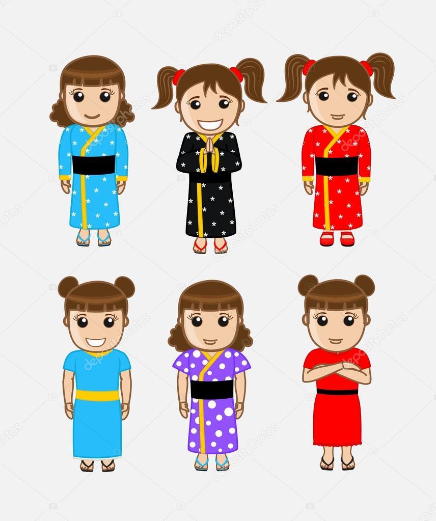 Japanische Mädchen Ausdrücke und Kleider — Stockvektor © baavli ...