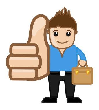 Cool Man Thumbs Up Concept - Vector Character Cartoon Illustration