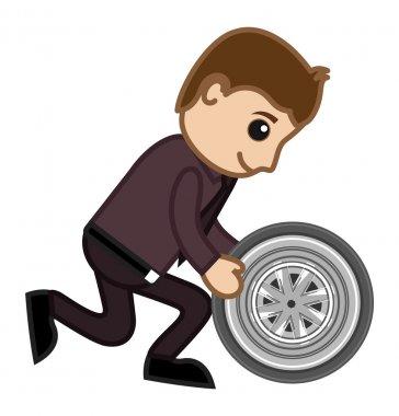Cartoon Vector - Changing the Vehicle Wheel